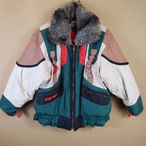 Vintage Neiman Marcus color block utility jacket